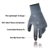 Grey Thin Lightweight Winter Work Warm Gloves With Power Grip
