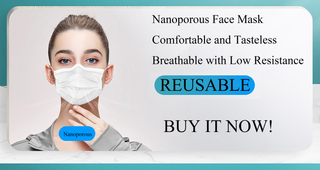 Reusable Nanoporous 3 Ply Face Washable Mask